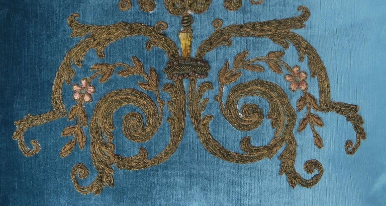 Rococo Custom Pillows with 19th Century Gold Metallic Appliqués by Melissa Levinson For Sale