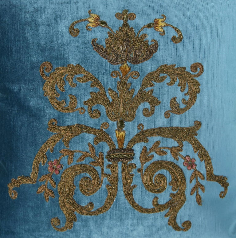 Embroidered Custom Pillows with 19th Century Gold Metallic Appliqués by Melissa Levinson For Sale