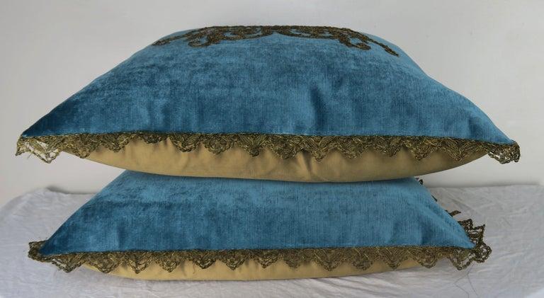 Velvet Custom Pillows with 19th Century Gold Metallic Appliqués by Melissa Levinson For Sale