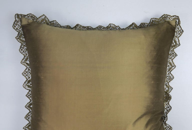Custom Pillows with 19th Century Gold Metallic Appliqués by Melissa Levinson For Sale 1