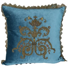 Custom Pillows with 19th Century Gold Metallic Appliqués by Melissa Levinson