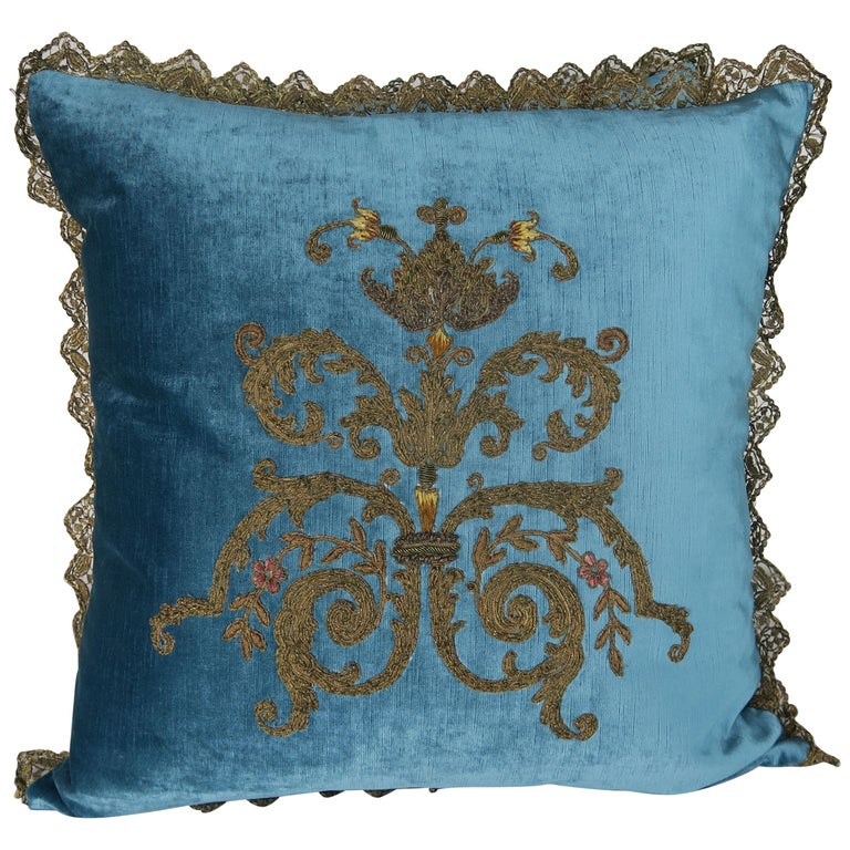 Custom Pillows with 19th Century Gold Metallic Appliqués by Melissa Levinson For Sale