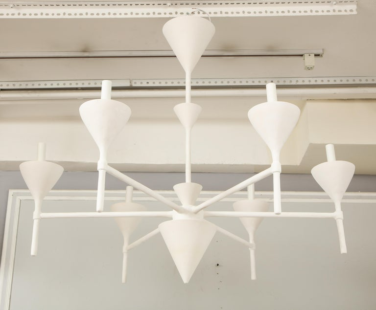 Custom Plaster Gaston Six-Arm Chandelier/ Fixture In New Condition For Sale In New York, NY