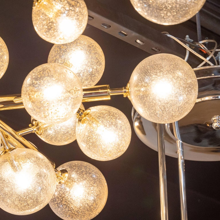 Custom Polished Brass and Murano Glass Molecular 'Snowflake' Chandelier For Sale 4