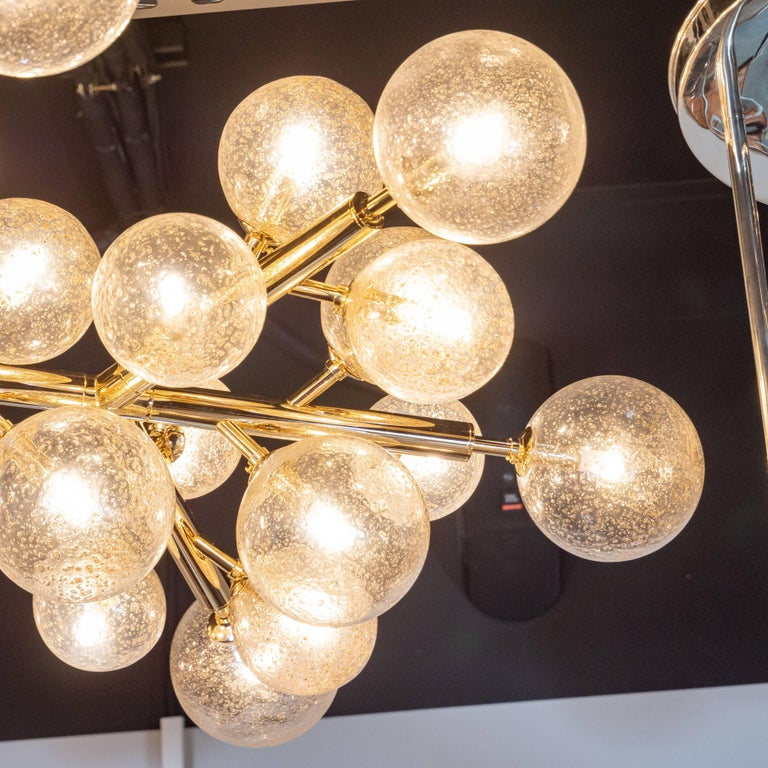 Modern Custom Polished Brass and Murano Glass Molecular 'Snowflake' Chandelier For Sale