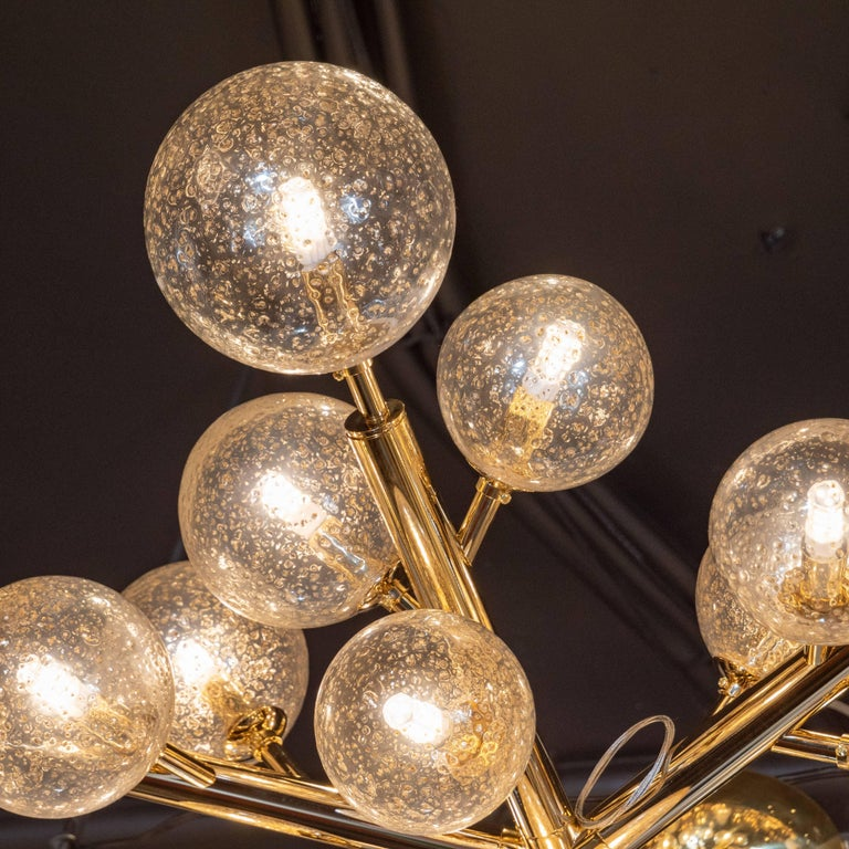 Custom Polished Brass and Murano Glass Molecular 'Snowflake' Chandelier In Excellent Condition For Sale In New York, NY