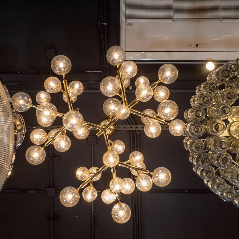 Contemporary Custom Polished Brass and Murano Glass Molecular 'Snowflake' Chandelier For Sale