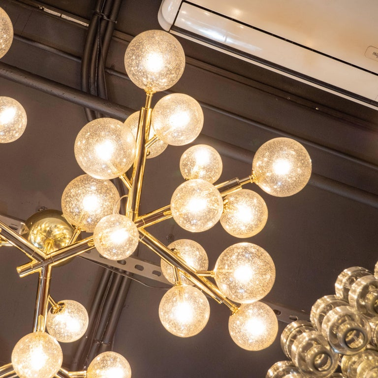 Custom Polished Brass and Murano Glass Molecular 'Snowflake' Chandelier For Sale 1