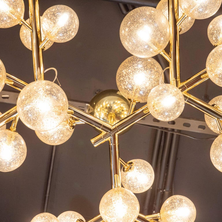 Custom Polished Brass and Murano Glass Molecular 'Snowflake' Chandelier For Sale 2