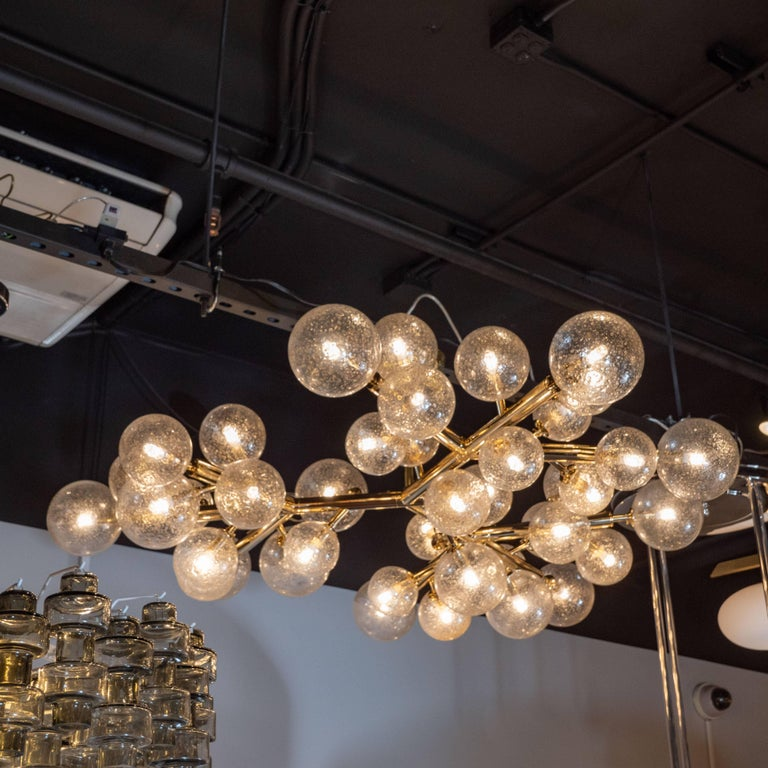 Custom Polished Brass and Murano Glass Molecular 'Snowflake' Chandelier For Sale 3