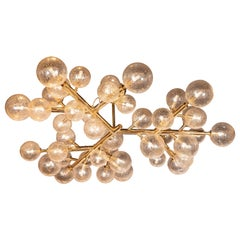 Custom Polished Brass and Murano Glass Molecular 'Snowflake' Chandelier