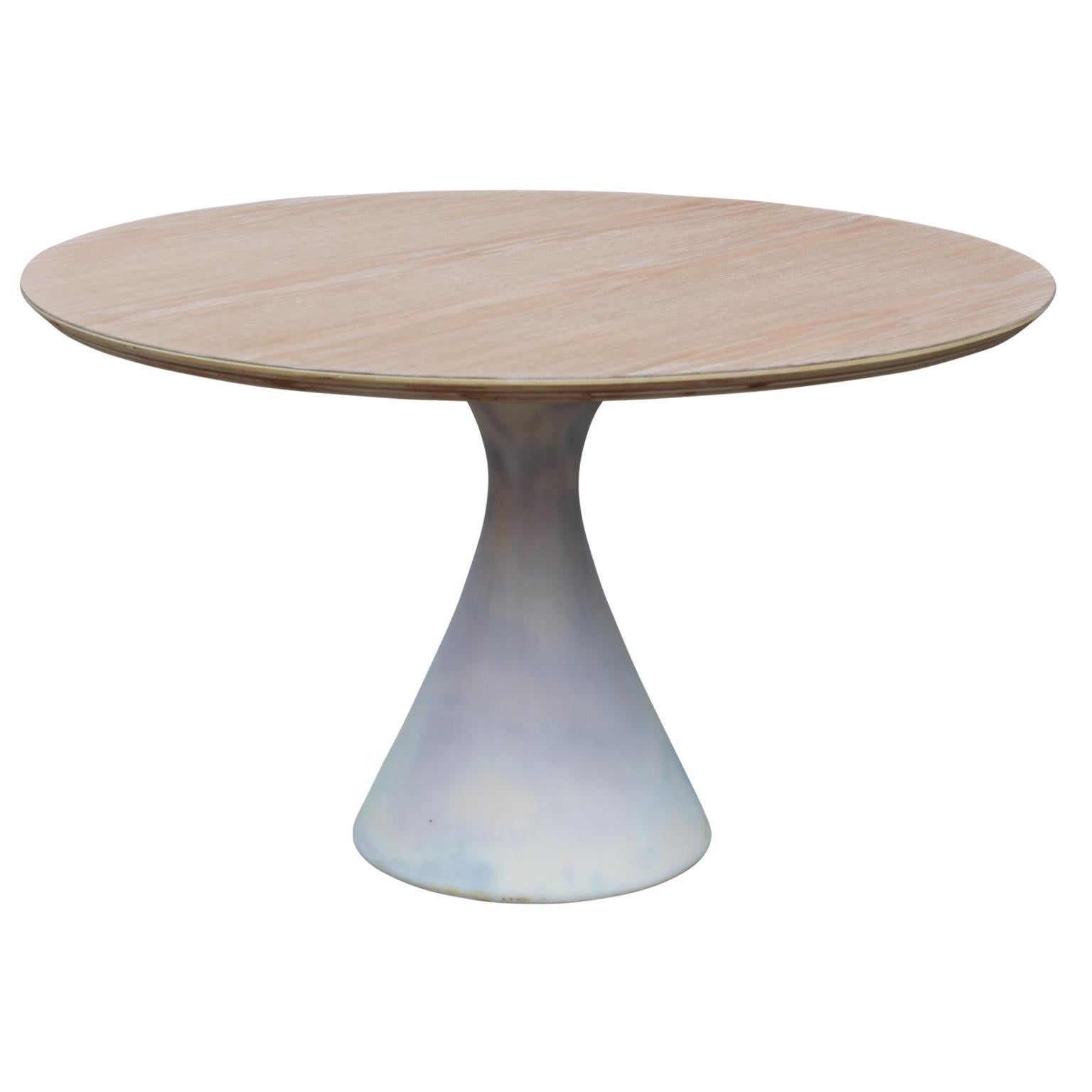 Custom Postmodern Round Wooden Tulip Table