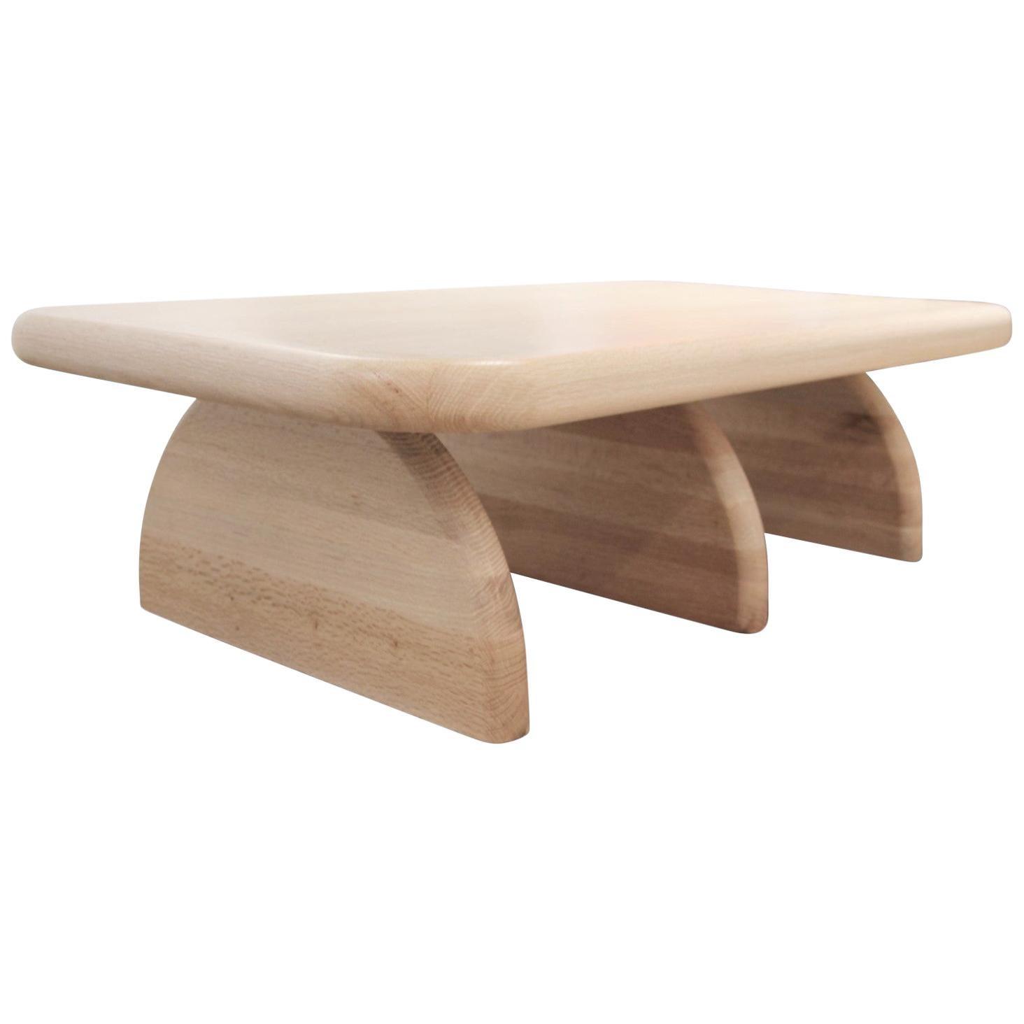 Custom Post Modern Geometric Soft Organic Oak Three Leg Coffee Table