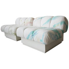 Custom Postmodern Italian Style Pair of Slipper Chairs Artist Signed Fabric