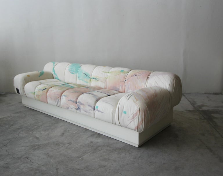 Post-Modern Custom Postmodern Italian Style Sofa on Plinth Base Artist Signed Fabric For Sale