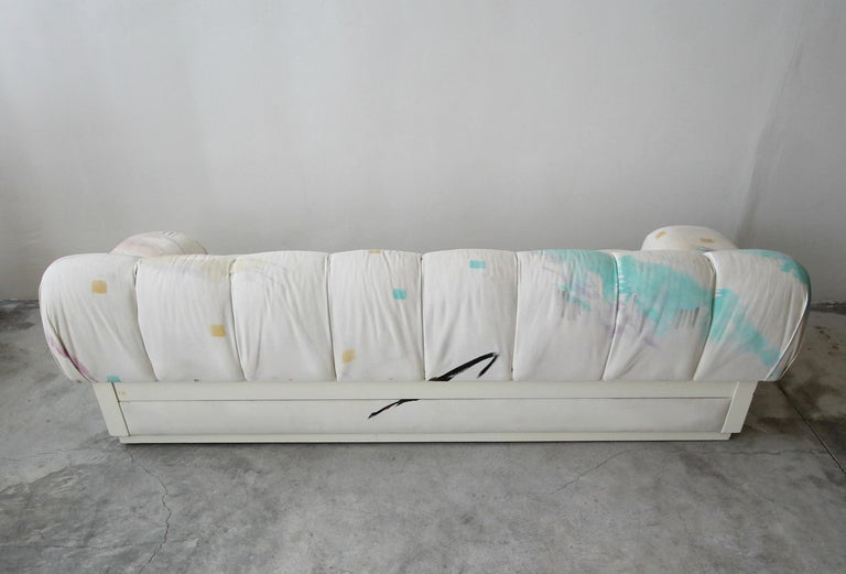 20th Century Custom Postmodern Italian Style Sofa on Plinth Base Artist Signed Fabric For Sale