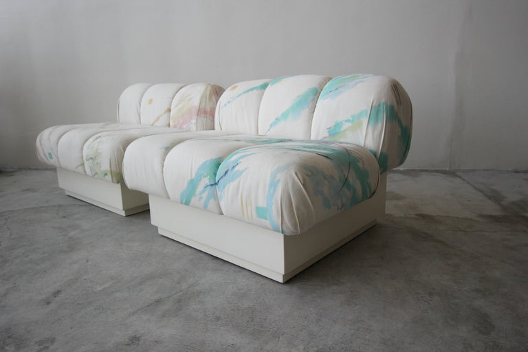 Custom Postmodern Italian Style Sofa on Plinth Base Artist Signed Fabric For Sale 2