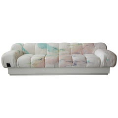 Custom Postmodern Italian Style Sofa on Plinth Base Artist Signed Fabric