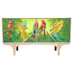 Custom Postmodern Tropical Hand Painted Parrot Jungle Oak Sideboard