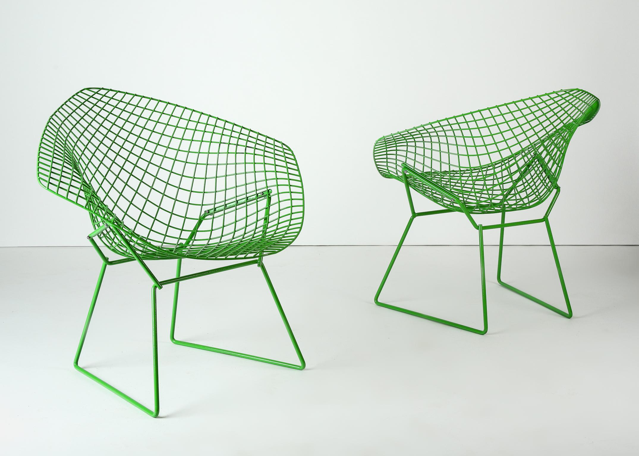 Custom powder coated green harry bertoia diamond chairs for knoll for sale at 1stdibs