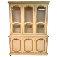 Custom Quality Baker Cream and Gilt Distressed China Cabinet Oak Lined Two-Piece