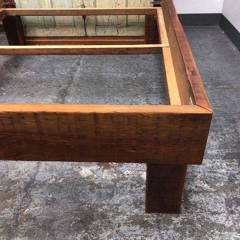 Contemporary Custom Queen Size Reclaimed Wood Bed For Sale