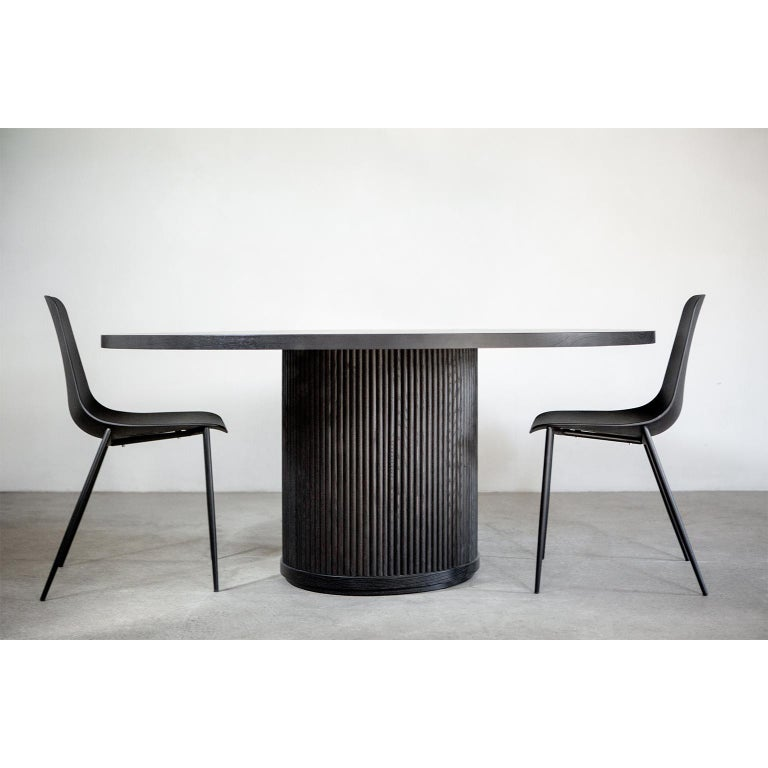 Modern Custom Radius Meeting Table Made with a Solid Wood Top and Tambour Wrapped Base For Sale