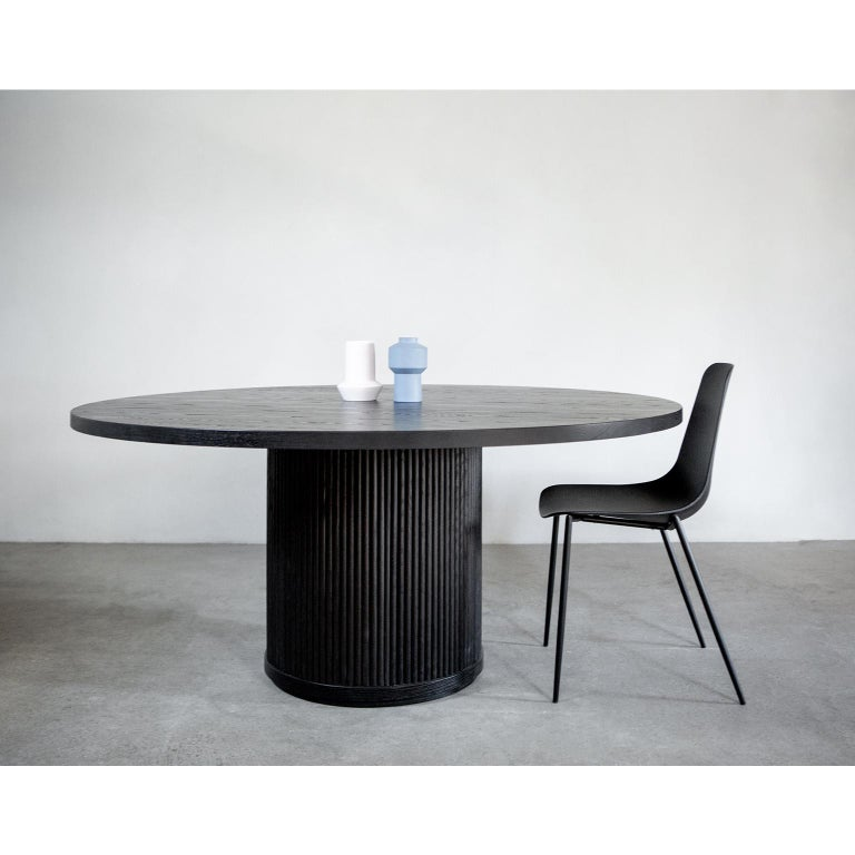 Canadian Custom Radius Meeting Table Made with a Solid Wood Top and Tambour Wrapped Base For Sale