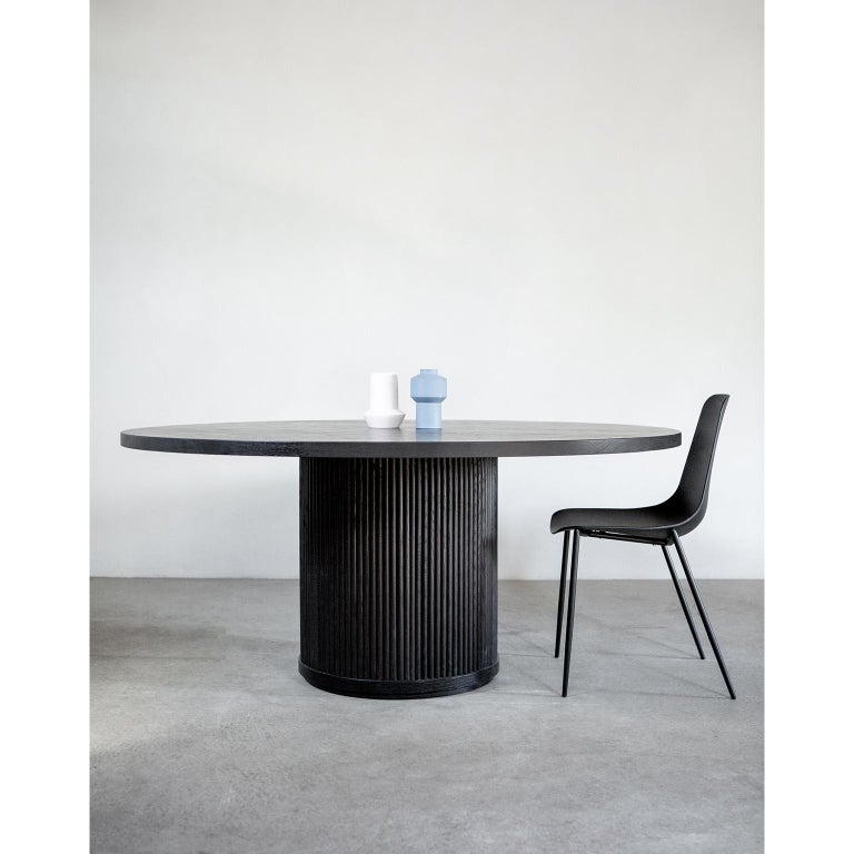 Oiled Custom Radius Meeting Table Made with a Solid Wood Top and Tambour Wrapped Base For Sale