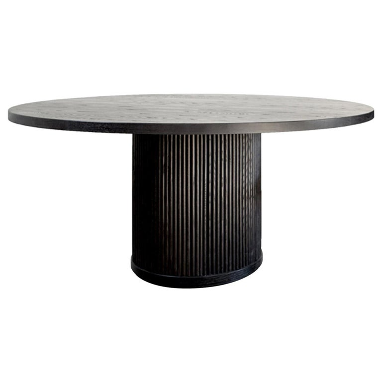 Custom Radius Meeting Table Made with a Solid Wood Top and Tambour Wrapped Base For Sale