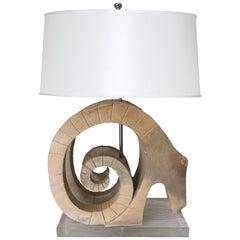 Carved Wood Ram's Head Custom Table Lamp