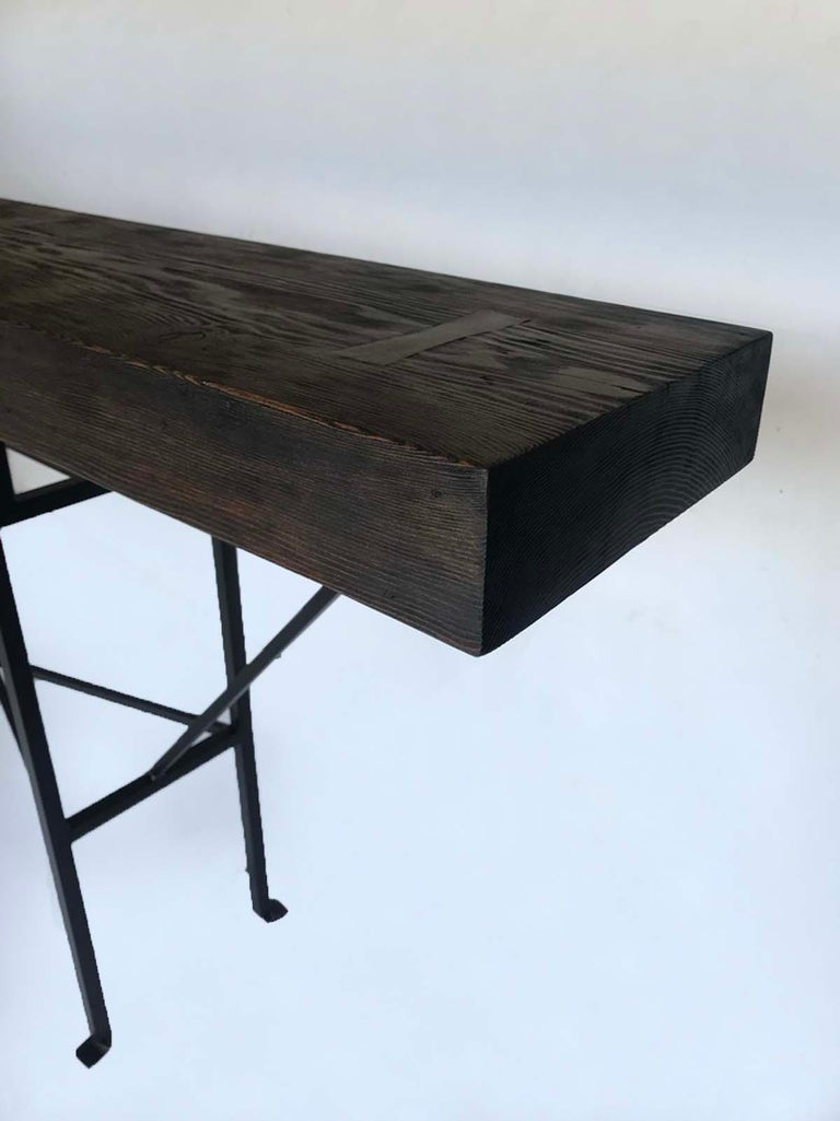 Rustic Custom Reclaimed Wood and Iron Buttress Console For Sale