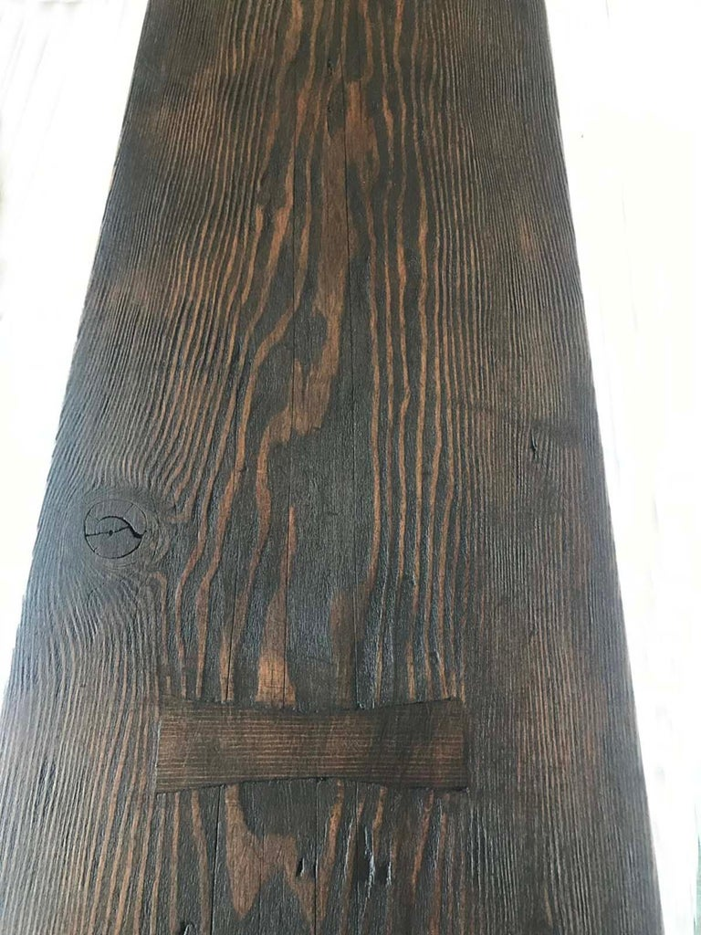 American Custom Reclaimed Wood and Iron Buttress Console For Sale