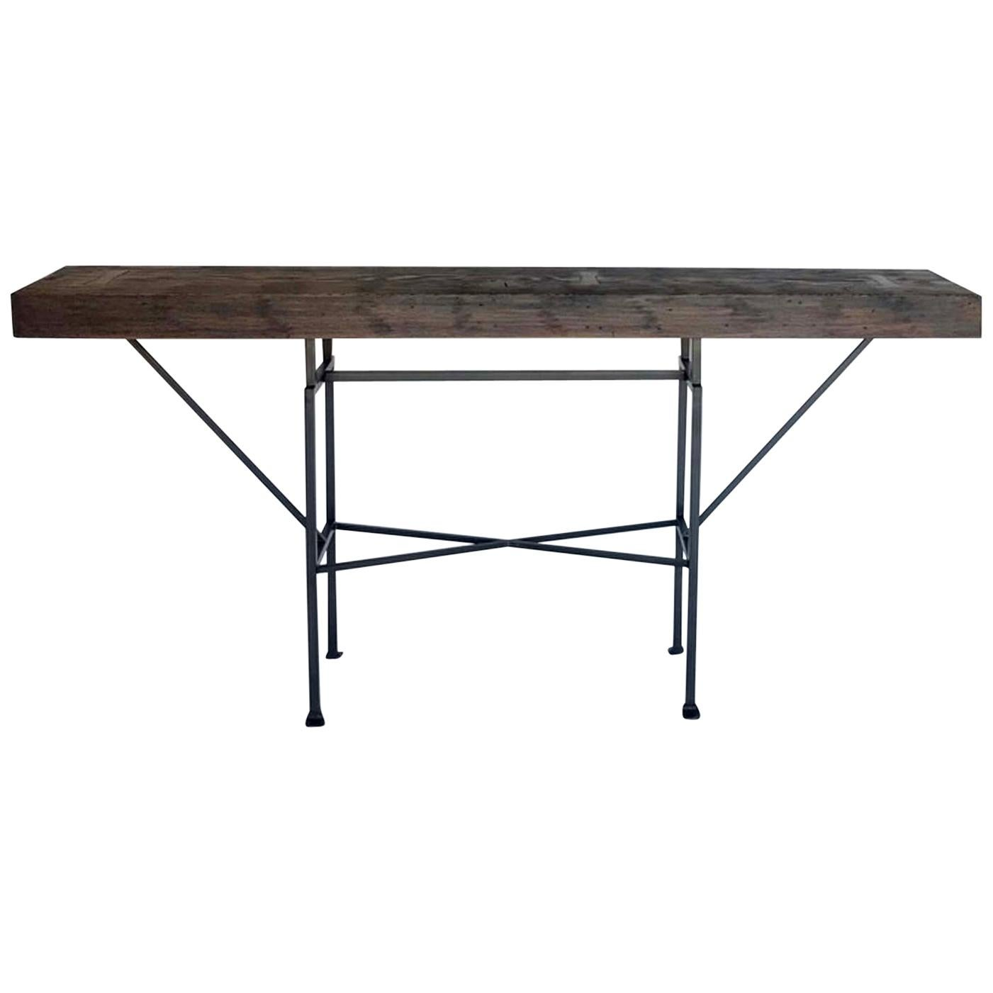Custom Reclaimed Wood and Iron Buttress Console