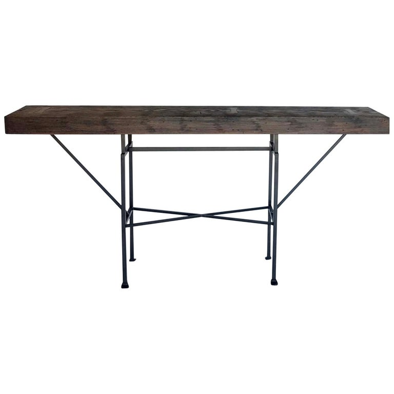 Custom Reclaimed Wood and Iron Buttress Console For Sale