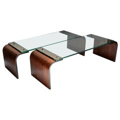 Custom Rectangular Rosewood and Glass Coffee Table by Adesso Imports