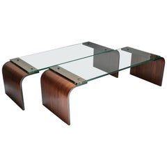 Custom Rectangular Rosewood and Glass Coffee Table