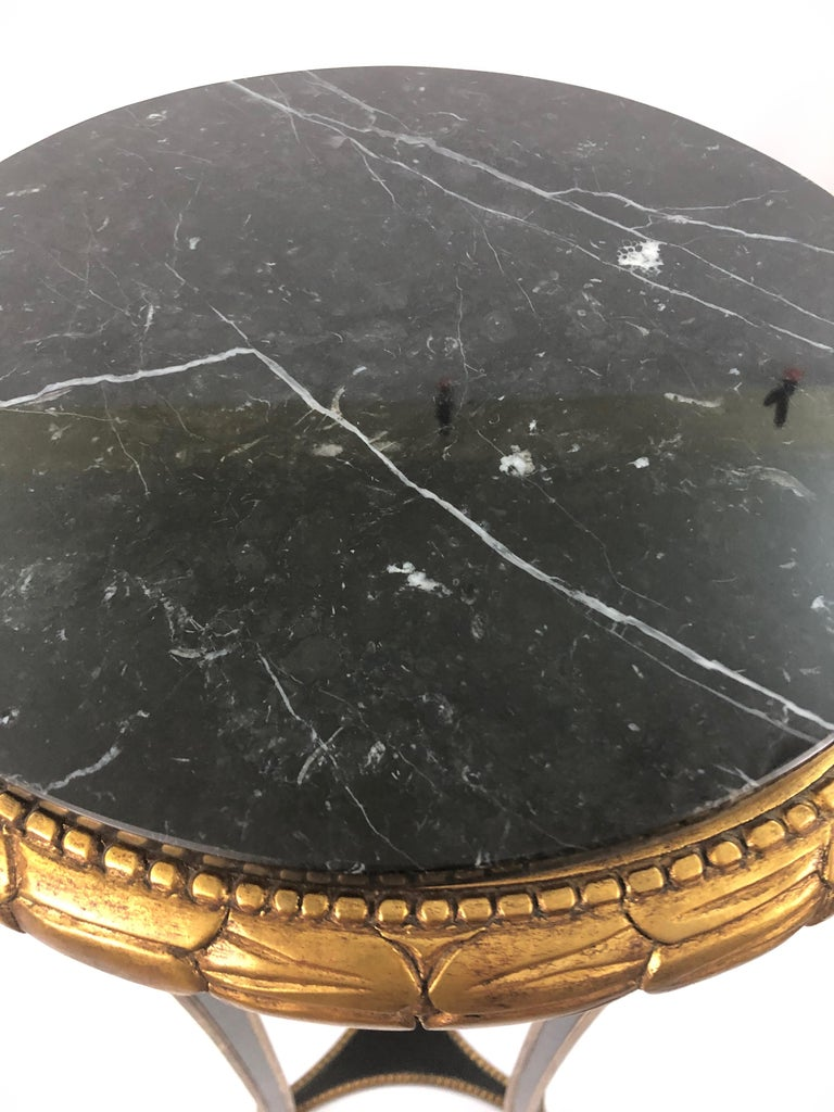 Custom Regency Ebonized and Gilded Plant Stand with Marble Top For Sale 1