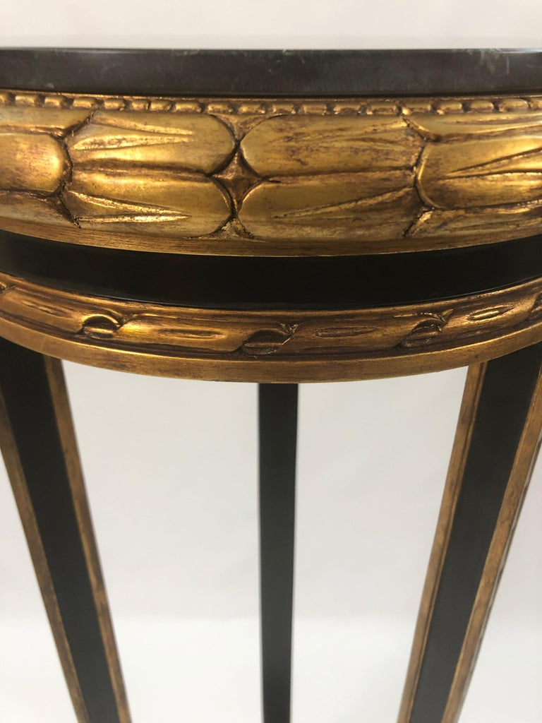 Custom Regency Ebonized and Gilded Plant Stand with Marble Top For Sale 4