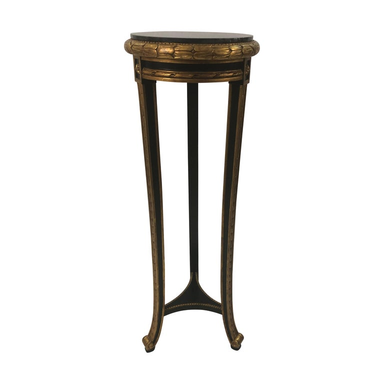 Custom Regency Ebonized and Gilded Plant Stand with Marble Top For Sale