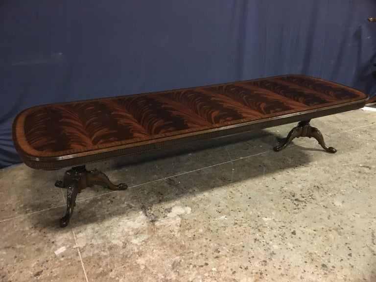 Custom Regency Style Mahogany Dining Table by Leighton Hall For Sale 7