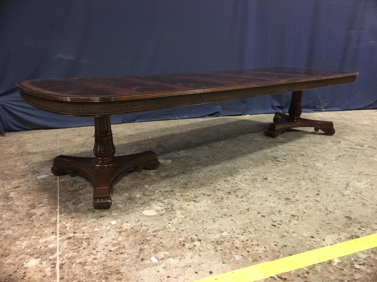 American Custom Regency Style Mahogany Dining Table by Leighton Hall For Sale