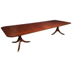 Custom Traditional Ribbon Mahogany Georgian Style Dining Table by Leighton Hall