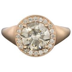 Custom Rose Gold GIA Certified Round Diamond Halo Engagement Ring