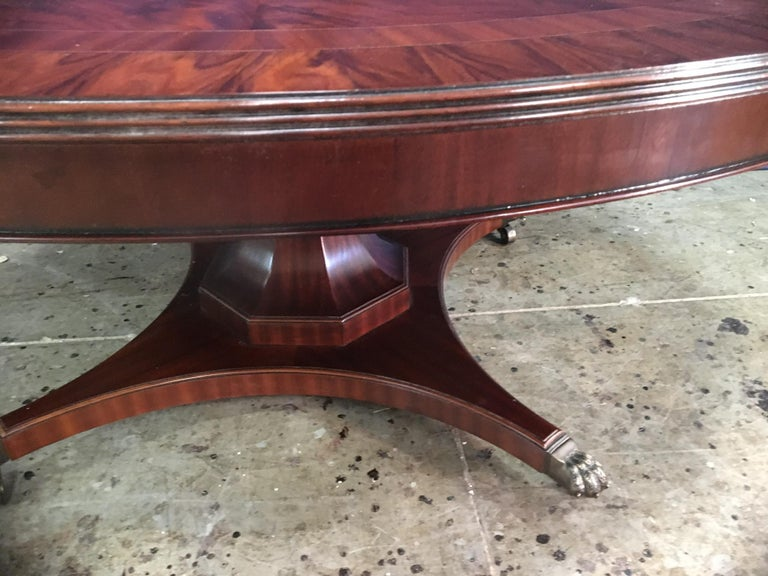 Custom Round Mahogany Transitional Dining Table by Leighton Hall For Sale 4