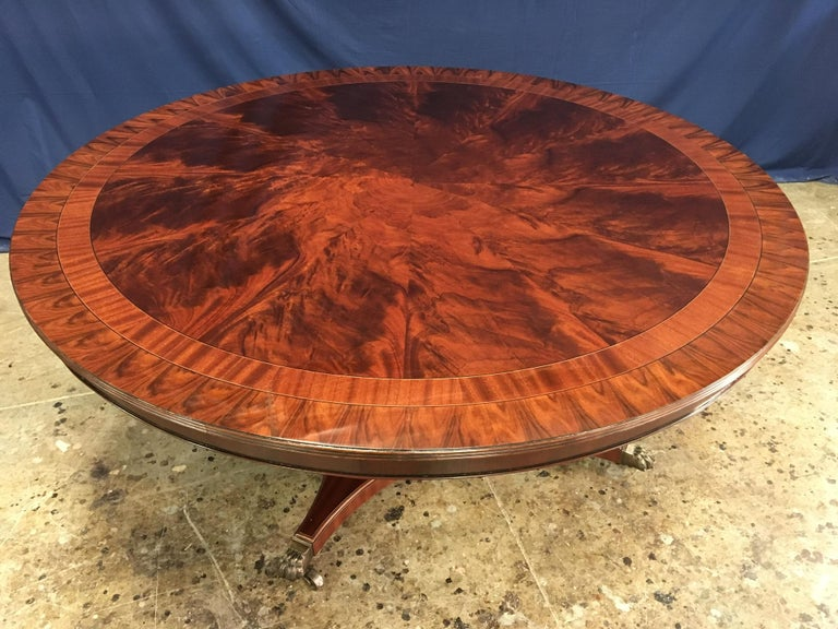 Georgian Custom Round Mahogany Transitional Dining Table by Leighton Hall For Sale