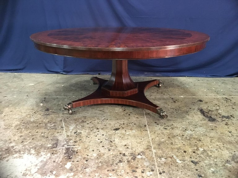 American Custom Round Mahogany Transitional Dining Table by Leighton Hall For Sale
