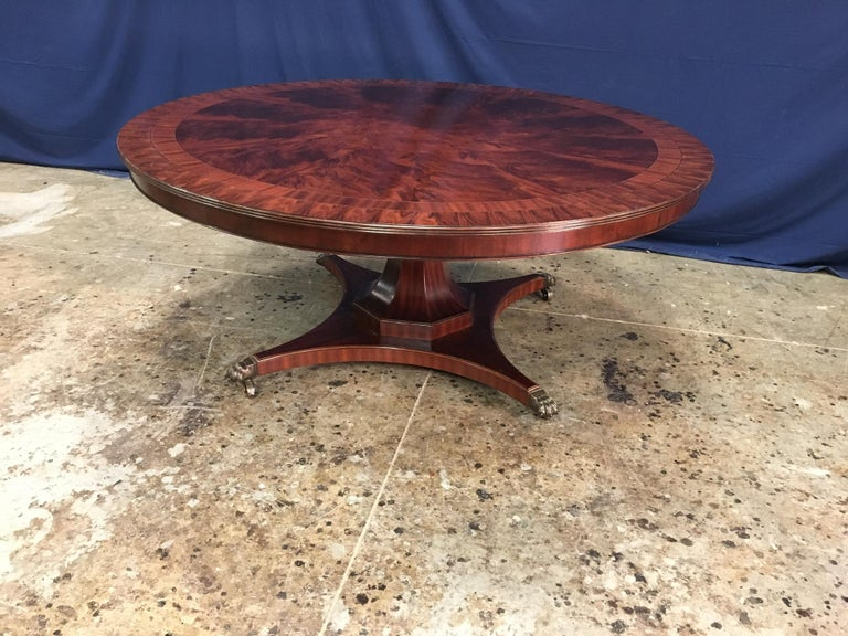 Custom Round Mahogany Transitional Dining Table by Leighton Hall In New Condition For Sale In Suwanee, GA