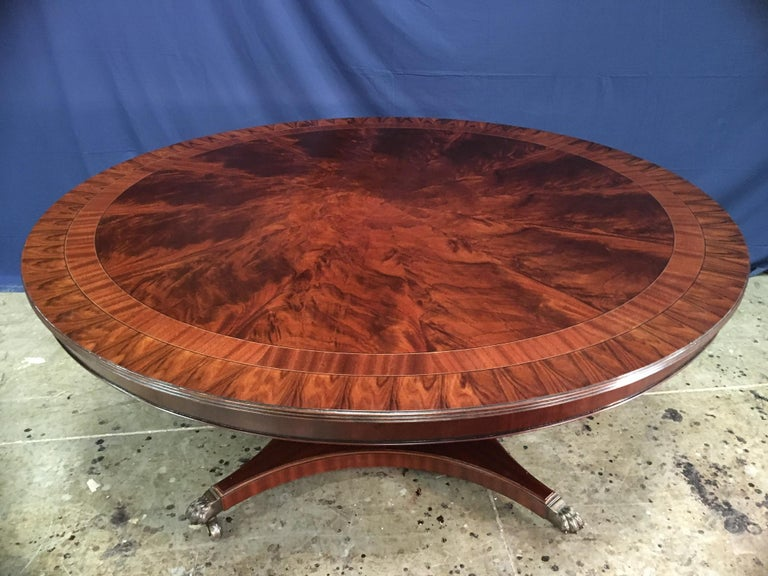 Contemporary Custom Round Mahogany Transitional Dining Table by Leighton Hall For Sale