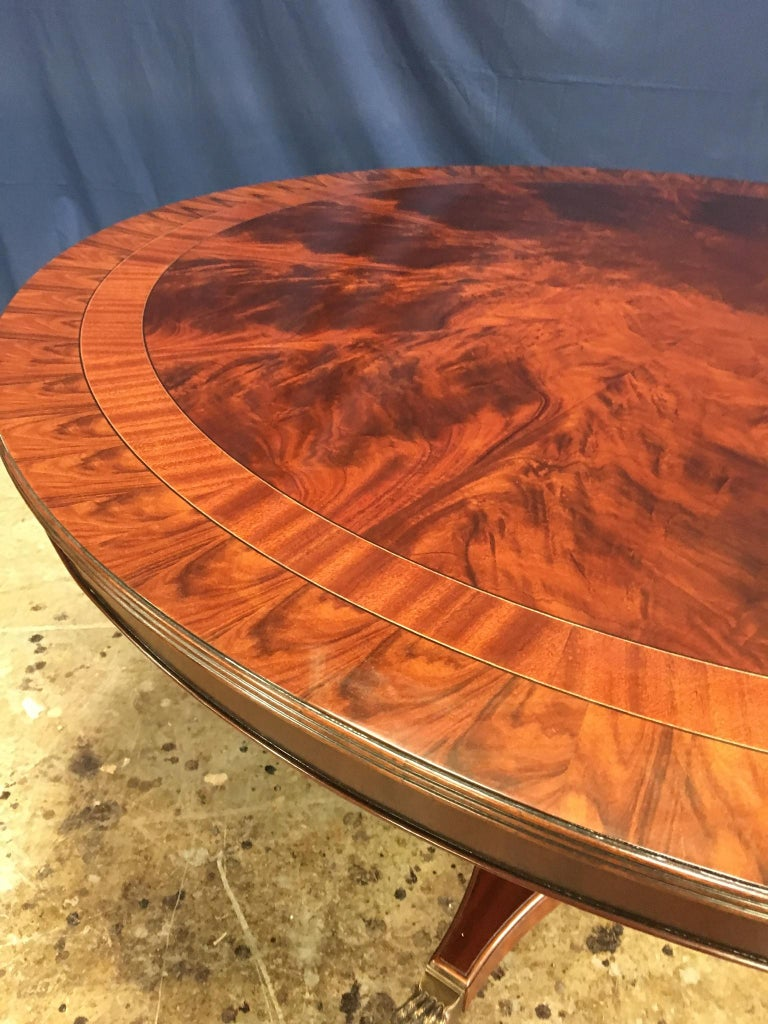 Custom Round Mahogany Transitional Dining Table by Leighton Hall For Sale 1
